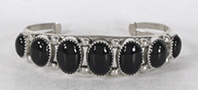 Authentic Native American sterling silver Onyx Bracelet by Navajo Phillip Yazzie