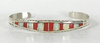 Authentic Native American sterling silver Coral and Opal Inlay Bracelet by Zuni Miranda Peynetsa