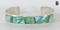 Authentic Native American sterling silver Turquoise and Opal Inlay Bracelet by Navajo Kenneth Bitsie
