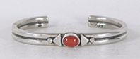 Authentic Native American sterling silver Coral Bracelet by Navajo Albert Jake