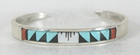 Authentic Native American sterling silver Multi-stone Inlay Bracelet by Zuni Charles and Marlene Booqua