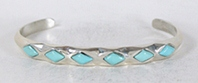 Authentic Native American sterling silver Turquoise  Bracelet by Zuni Bernard Cachini Jr.