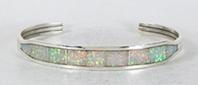 Authentic Native American sterling silver Opal Inlay Bracelet by Navajo Nathanial Johnson