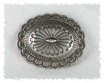 Blackgoat Navajo Sterling Silver Traditional Concho Belt Buckle
