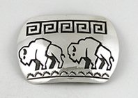 Navajo Sterling silver walking bear belt buckle