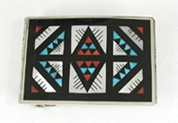 Zuni Sterling Silver mosaic inlay Belt Buckle