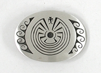 Navajo Sterling Silver Man in a Maze belt buckle by Charlton Lindsay