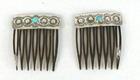 Authentic Native American Sterling Silver Hair Combs by Navajo Jenny Blackgoat