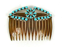 Authentic Native American sterling silver and turquoise hair comb by Zuni E. Gchachu