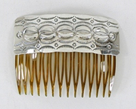 Authentic Native American  Sterling Silver Hair Combs by Navajo Tim Yazzie
