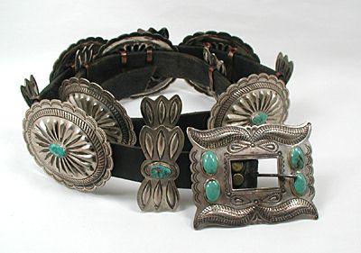 Native American Navajo Hopi Zuni Concho Belts and Hat Bands