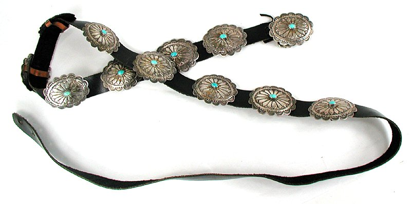 df623b389 Vintage Native American Navajo Sterling Silver and Turquoise concho belt