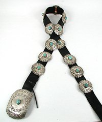 Authentic vintage Native American sterling silver and turquoise concho belt by Navajo artist Robert Yellowhorse
