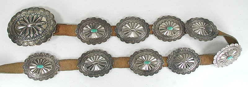 Vintage Navajo Married Concho Belt