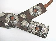 Vintage Sterling Silver married  concho belt with buckle by Navajo silversmith Floyd Arviso