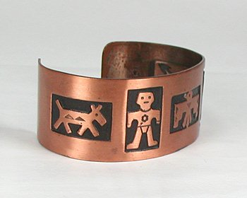 Vintage copper bracelet native american bell trading post for Thunderbird jewelry albuquerque new mexico