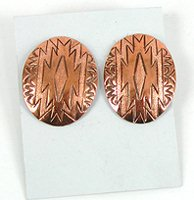 Authentic Native American NOS copper dust post earrings by Navajo Verna Tahe