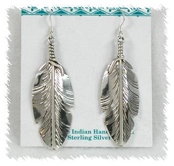 Authentic Sterling Silver Feather Earrings