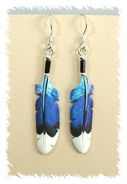 Lonny And Michelle Cloud Hand Painted Blue Bone Feather Earrings Wire Style