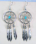 Authentic Native American Sterling Silver and turquoise dreamcatcher Earrings by Lorenzo Arviso Navajo
