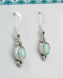 Native American Navajo Sterling Silver Opal Earrings