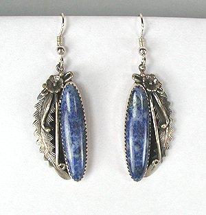 Native American Navajo Sterling Silver Lapis Earrings