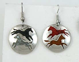 Native American Indian Four Directions Horses Earrings By