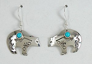Authentic Native American Sterling Silver And Turquoise Bear Wire Earrings By Navajo Jeff James