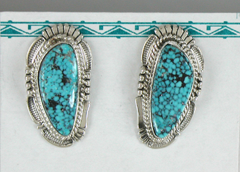 5bb89a8c4 Authentic Native American Navajo Kingman Birdseye Turquoise earrings by  Navajo Bennie Ration