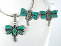 Authentic Native American sterling silver Turquoise Dragonfly Pendant and Earrings Set by Navajo Dean Brown