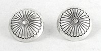 sterling silver concha button post earrings