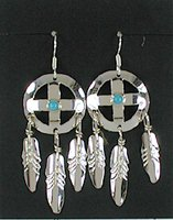 Sterling Silver crosspath  earrings with feathers and turquoise stone