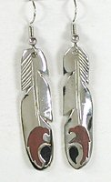 Authentic Native American inlaid Feather wire earrings by Lakota Mitchell Zephier