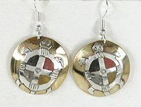 Authentic Native American inlaid Turtle wire earrings by Lakota Mitchell Zephier