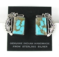 Authentic Navajo sterling silver and turquoise post-style earrings by Peterson Johnson