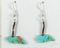 Authentic Navajo wolf fetish earrings of turquoise by Corrine Ramirez