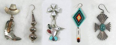 Native American Indian Sterling Silver Pendants Vintage Earrings