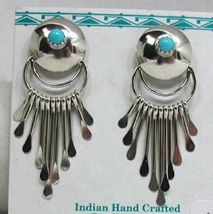 Paula Armstrong Navajo Turquoise And Silver Dome Dangle