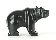 Authentic Native American Bear Fetish of jet by Navajo David Yazzie
