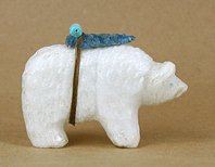 Authentic Native American Bear Fetish of alabaster by Zuni Kevin Quam