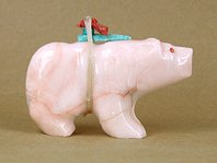 Authentic Native American Bear Fetish of pink marble by Zuni Jimmy Yakawa