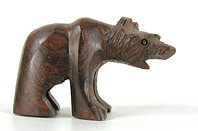 wooden bear fetish carving