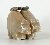Authentic Native American Zuni Indian douible bear fetish carving by Emery Eriacho