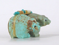 Authentic Native American double bear Fetish carving by Zuni Farlan and Paulette Quam