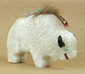 Authentic Native American White Buffalo Fetish Carving by Navajo Ben Livingston