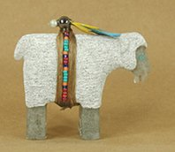 Authentic Native American Navajo sheep Fetish Carving by Harold Davidson
