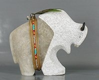 Authentic Native American Navajo Buffalo Fetish Carving by Harold Davidson