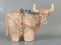 Authentic Native American Zuni Longhorn Steer Fetish Carving by Enrike Leekya