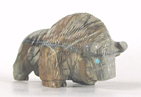 Authentic Native American Buffalo Fetish Carving of Picasso Marble by Zuni artists Abby Quam Panteah
