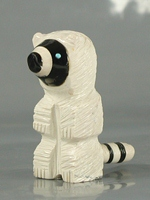 Authentic Native American Racoon Fetish Carving from alabaster by Zuni Suzette Lementino